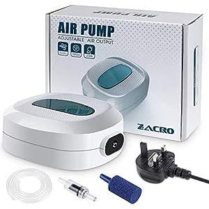 Zacro 2.5w Aquarium Air Pumps, Ultra Quiet, Flow 3L / Minutes, Adjustable Air Flow, for 35L-300L Aquarium