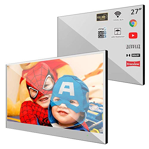 Soulaca 27 inches Smart Mirror Android 7.1 LED Bathroom Waterproof Television WiFi Frameless Shower TV