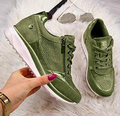 WODETIAN Zapatillas Deportivas de Mujer Zapatos de Cuero de PU Zapatos Deportivos Transpirables Duraderos Zapatillas con Cordones Fitness Sneakers Casual Zapatos para Caminar,Verde,39