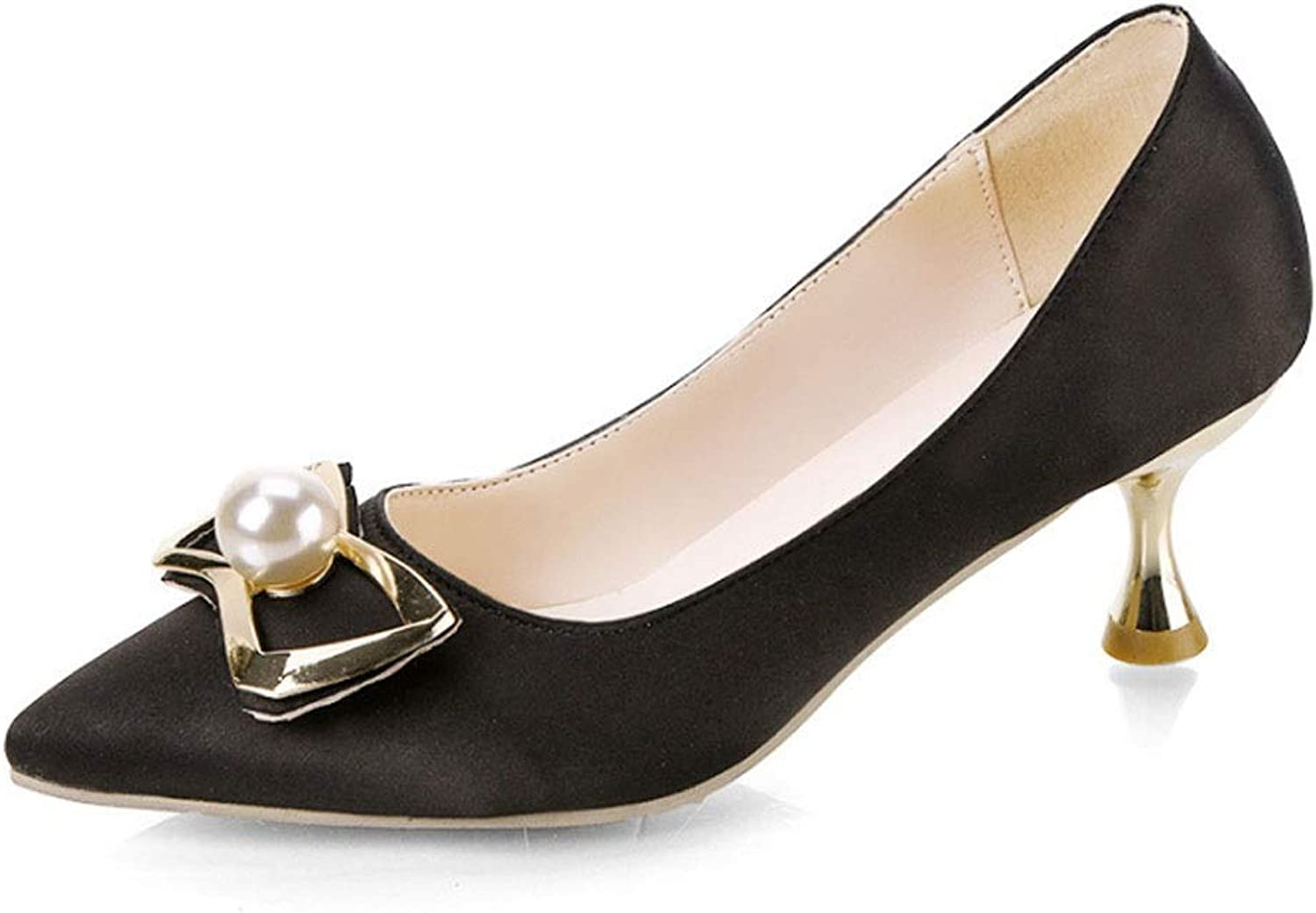 Women's Sandals Summer Pointed Bows with Casual Party Office Court shoes (color   C, Size   7.5 US)