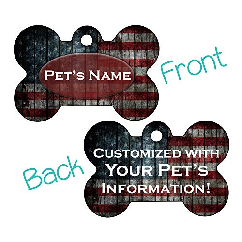 Rustic American Flag Custom Double Sided Pet Id Dog Tag Personalized for Your Pet