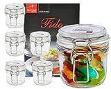 Bormioli Rocco 6er Set Drahtbügelglas FIDO, 200 ml, Einmachglas mit Bügelverschluss, inkl. Rezeptheft -