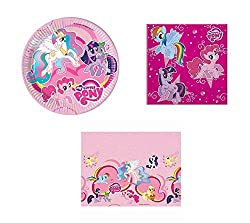 My Little Pony 3 Piece Party Set Set Includes: 8 x 23cm Plates, 20 x 2 ply Napkins, 1 x 120 x 180 cm Tablecover A Perfect Selection for a My Little Pony Themed Party Items Feature: Pinkie Pie, Princess Celestia, Twilight Sparkle, Rainbow Dash, Spike ...