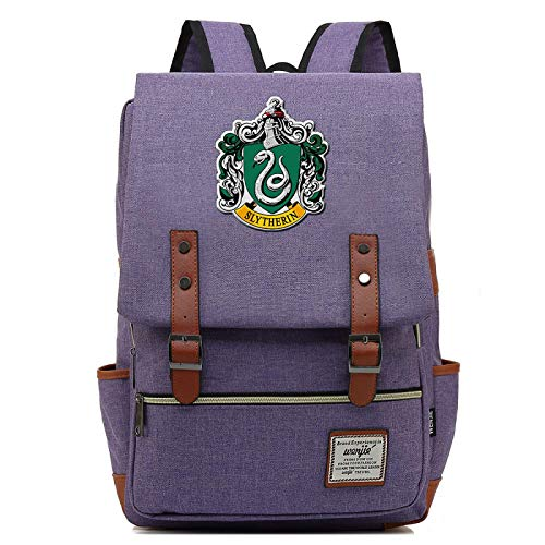MMZ Casual School Bag Slytherin Backpack for Boys and Girls Harry Potter Rucksack for Men and Women Medium Purple