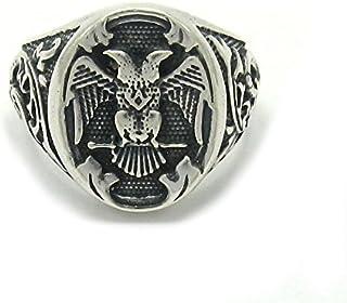 Anello da uomo in Argento 925 aquila a due punte R001405