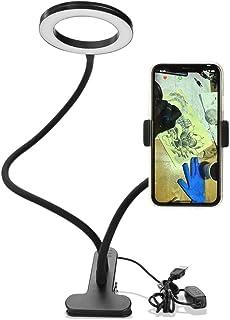 Sunbaca Clip On Led Selfie Ring Light com suporte para telefone celular Regulável Flexível Maquiagem lâmpada de mesa Cande...