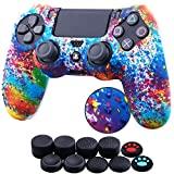 YoRHa Water Transfer Printing Dots Silicone Cover Skin Case for Sony PS4/slim/Pro Dualshock 4 Controller x 1(Spashing Paint) with Thumb Grips x 10