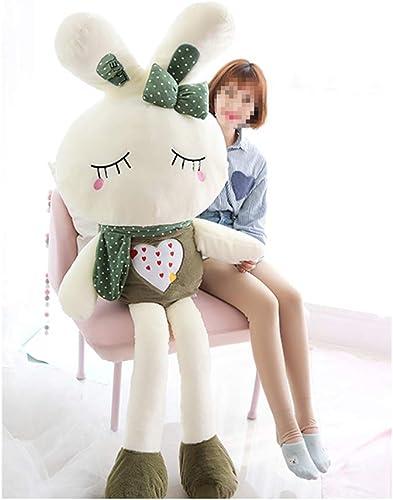 IIWOJ Adorable Animal Peluche poupée, Mignon Doux Simulation Oreiller Lapin Coussin-Cadeaux pour Enfants Accueil Accessoires,closedeyes,120cm