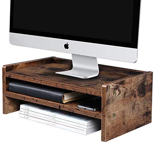 OROPY Monitorständer mit Stauraum, Bildschirmständer, aus Holz als Computertisch für Monitor, Laptop, Notebook, iMac, für Arbeitszimmer oder Büro-Dunkelbraun (L42 x W24 x H16cm)
