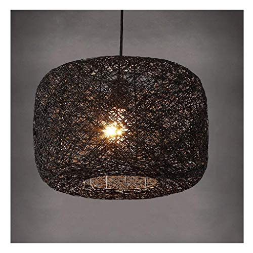 Lámpara Colgante Luces Led redondo Rattan Chandelier - Restaurant Cafe Bird's Nest Round Plafón redondo, d,