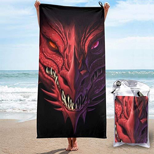 FETEAM Toallas de Playa de Secado rápido con Bolsillo, Cool Dragon Face Soft Sand Free Pool Bath Toalla de Viaje al Aire Libre para Acampar Nadar Yoga Deportes