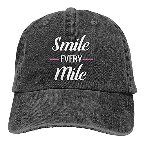 Leumius Smile Every Mile-2 Sombrero, Unisex Deportes Denim Cap Moda Sombrero De Béisbol Vintage, Negro, Talla única