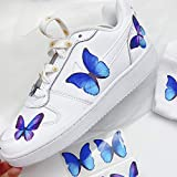 Lemonadeus Butterfly Decal Patches for Custom Nike Air Force 1/Vans/Stickers Kit for DIY Hand Painted Sneaker Idea Design Your Own Shoes(Set of 6) (Blue Morpho)