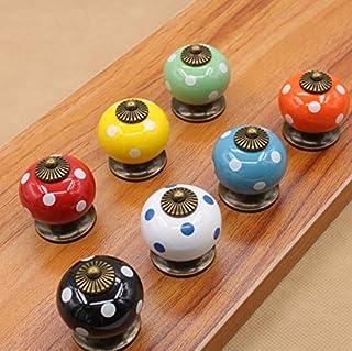 Vida * 7 perillas Pomos y tiradores de los cajones hermosas piezas de muebles Knauf pomo de la puerta manija de los muebles de cerámica con tornillos 7 calabaza color colorido