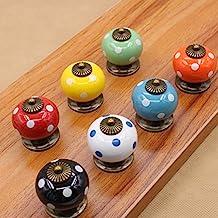 Mooi leven* 7 stuks kastknoppen deurknop meubelknop keramische meubelgreep met schroeven 7 bonte kleuren pompoen