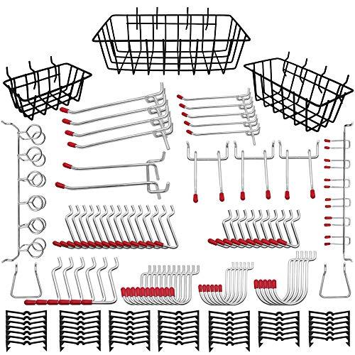 Pegboard Accessories Organizer Kit 120PCS | Peg Board Attachment & Peg Board Basket Set for Tools | 1 4 inch Pegboard Hooks Assortment | Pegboard Bins, Metal Hooks for Hanging Storage