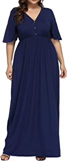 Women's Plus Size V Neck Button Up Maxi Dress Bell Sleeve Beach Long Dresses