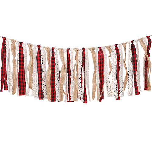 Aneco Buffalo Plaid Tassel Garland Lace Burlap Banners Rag Tie Banners Rustic Banner for Wall Decoration, 6.7 Feet (Color B)