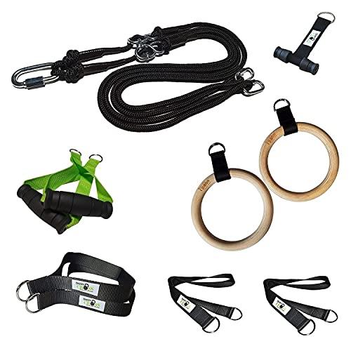 Entrenador de suspensión prémium con anillas y asas adicionales, fabricado en Alemania, ideal para ejercicios de calistenia y gimnasia, póster de ejercicios, anclaje para puerta