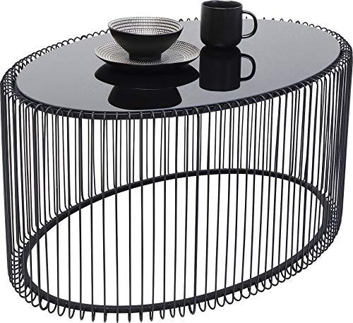 Kare Design Couchtisch Wire Uno Schwarz 60x90cm, moderner Couchtisch in Ovaler Form mit Tischplatte aus Glas, in weiteren Ausführungen erhältlich (H/B/T) 40,5x90x60cm
