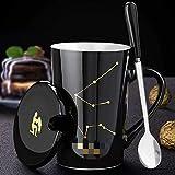 Taza de cerámica con tapa y cuchara de café de 420 ml, diseño de constelación negra