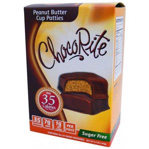 CHOCORITE CHOCOLATE VALUE PACK -6 24 GRAM BARS-SUGAR FREE-35 CALORIES PER PIECE (PEANUT BUTTER CUP PATTIES VALUE PACK)