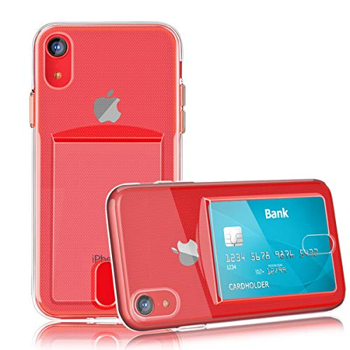 OBVIS for iPhone XR Slim Fit Clear TPU Gel Shockproof Case Cover with Card Holder (Transparent)
