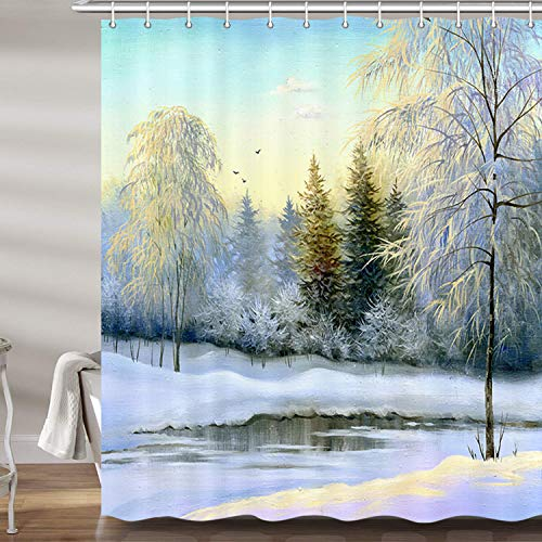 JAWO Rustic Winter Scenery Shower Curtain for Bathroom, Oil Painting Snow Forest River Christmas Profession Polyester Fabric Bath Accessories Curtains Decor with 12PCS Hooks 69X70 Inches