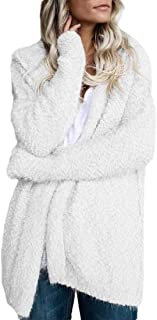 Macondoo Womens Casual Plus Size Fluffy Coat Open Front Hooded Jackets