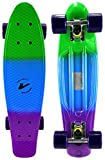 Velocity Boards Retro Cruiser Complete 22' Banana Skateboard w/Aluminum Trucks, Fast ABEC-7 Bearings, Wheels & Bushings (Marble - Green/Blue/Purple)