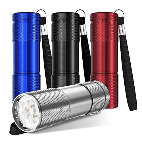YoungRich 4 PCS LED Torche Lampe de Poche Ultra Lumineux Torche Portable avec Porte-Clés pour Hommes Fille Enfants Camping Randonnée Pêche - Rouge Bleu Noir Argent