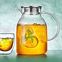 ティーポット 大容量 お茶セットガラスガラス冷たい水は、大容量のジュースポットフィルター水差し花1800Mlボトル高温ガラス冷たい水をボトル 高級感 おしゃれ 最高の贈り物 クリスマスプレゼント