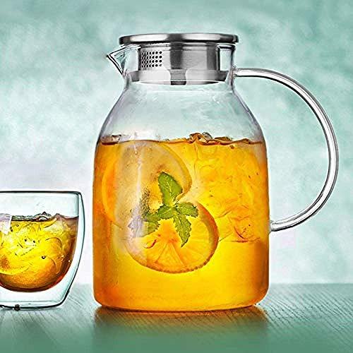 ShiSyan Juegos de té de Cristal de Vidrio en frío del Agua de Botella de Vidrio de Alta Temperatura fría Botella de Agua Grande Jugo Capacidad Pot Filtro Jarra Flor 1800 ml Utensilios