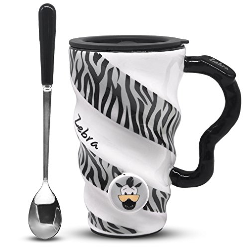 Zebra Mug with Lid and Spoon