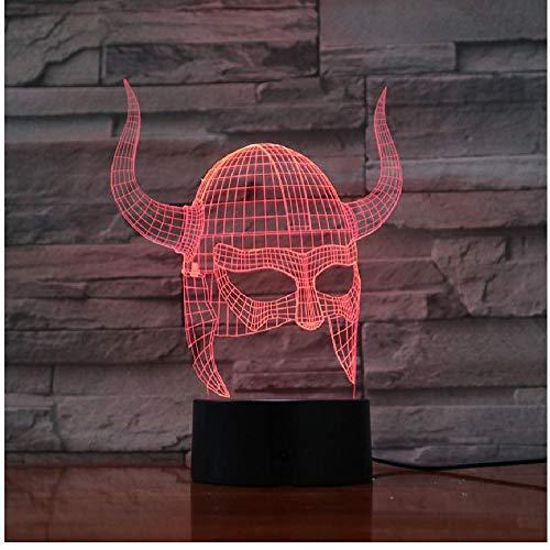 Viking Helme 3D Lampe Visuelle Lichteffekt Schöne Dekorative Led Nachtlicht Lampe Multi-Color
