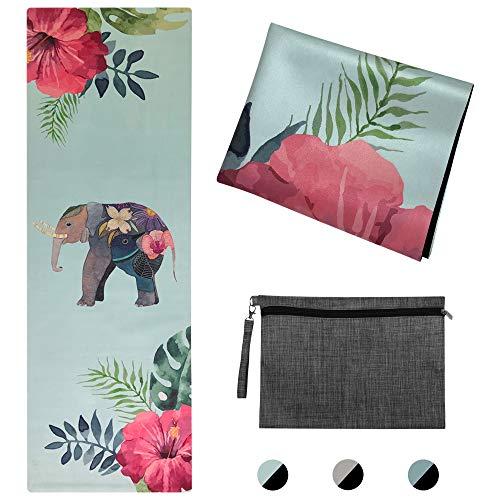 Lixada tappetino yoga da viaggio a tema elefante (183 x 61 x 0,2 cm)