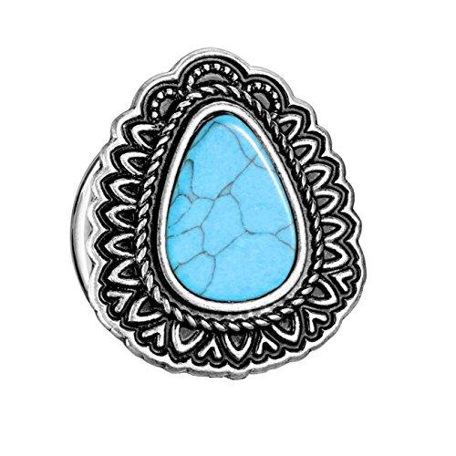 beyoutifulthings oorplug TRANEN-druppels turquoise oorpiercing oorsieraad chirurgisch staal tunnel zadelsluiting antiek-zilver turquoise 6-25 mm