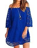 OURS Women's Casual Dresses Short Sleeve Off Shoulder Summer Wedding Dresses Royal Blue XXL