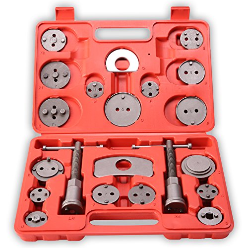 TRESKO 22 tlg Bremskolbenrücksteller Kolbenrücksteller-Set zum Zurückstellen des Bremskolbens bei Bremsscheiben-, Bremsbacken- oder Bremsbelag-Wechsel, KFZ-Werkzeug-Satz, universell