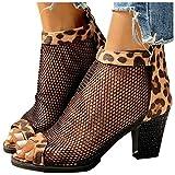 Sandalias de Tacón Alto para Mujer Sandalias de Malla con Estampado de Leopardo Negro Zapatos Casuales de Moda