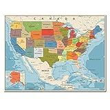 USA États-Unis Carte Affiche Taille Décoration Murale Grande Carte des USA-60x80cm sans Cadre