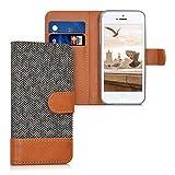 kwmobile Wallet Hülle kompatibel mit Apple iPhone SE (1.Gen 2016) / 5 / 5S - Hülle mit Ständer - Handyhülle Kartenfächer Anthrazit Braun