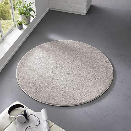 Taracarpet Teppich Kurzflor weicher Designer Uni Bodenbelag Madrid fürs Wohnzimmer, Kinderzimmer, Schlafzimmer und die Küche geeignet Grau Silber 120 cm rund