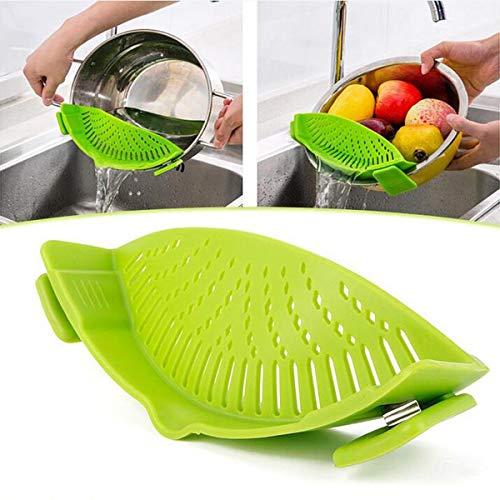 KUNSE Durable Silicona Colador de Sartén Coladores Lavado Frutas Verduras Pasta Cocina Herramientas Gadgets Lavado Bolsa