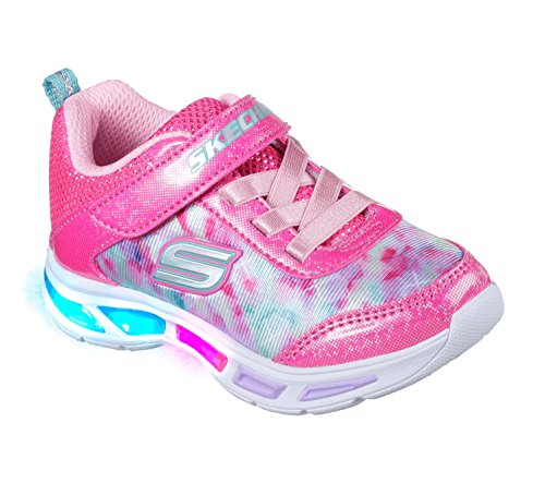 Skechers Kids Girls' Litebeams-Dance N'Glow Sneaker,neon pink/multi,2 Medium US Little Kid