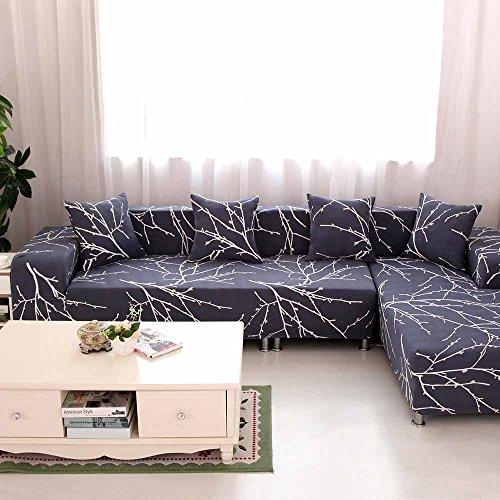 LINGJUN Flexible Housses de Canapé Imprimé Dessin avec Accoudoirs Décoration Protecteur et Couverture de Sofa 1 2 3 4 Places Élastique (4 Places 235-300cm, Calycanthe)