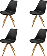 vidaXL 4X Dining Chairs Faux Leather Dinner Room Kitchen Office Café Lounge Chairs Living Room Padded Side Seat Home Furni...