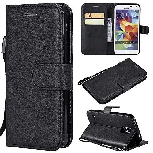 Samsung Galaxy s5 case, Leder Folio flip Buch Brieftasche case mit Schlitzen kartenhalter Tasche magnetverschluss stoßfest stoßstange Schutz case für Samsung Galaxy s5 Handyhülle (Farbe : Schwarz)