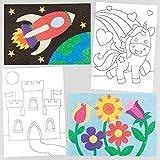 Baker Ross- Dibujos para Decorar con Arena y Purpurina (Pack de 8) -Manualidades Infantiles, blanco