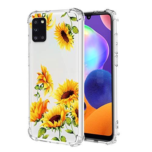 Bereajoy Schutzhülle für Galaxy A31, umweltfre&lich, TPU, ultradünn, Anti-Fall-Schutzhülle für Samsung Galaxy A31, Sonnenblumen-1